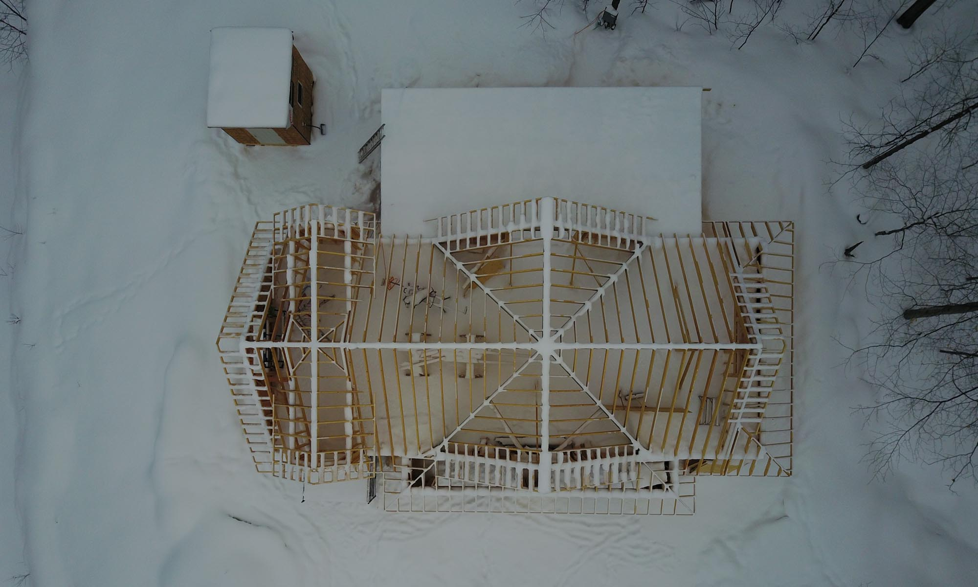 Arial View of a house being framed